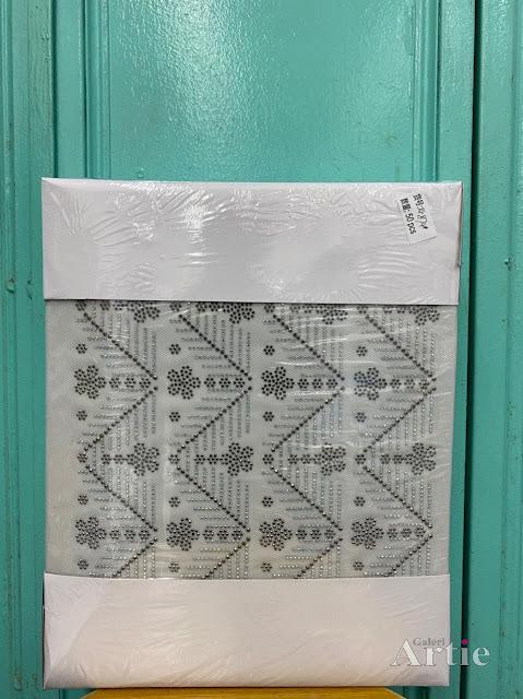 Hotfix stickers pelekat dmc aplikasi tudung bawal fabrik bunga 5 kelopak dengan dedaun geometri