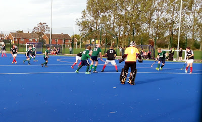 Picture: One of the Brigg Hockey Club teams (green shirts) in action on the floodlit 'Blue Astro' pitch at the town's Recreation Ground - see Nigel Fisher's Brigg Blog