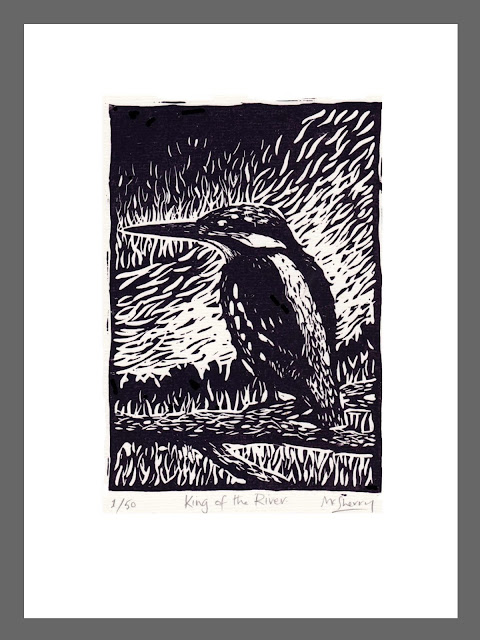 King of the River. Edition of 50. Hand printed from a linocut block plate