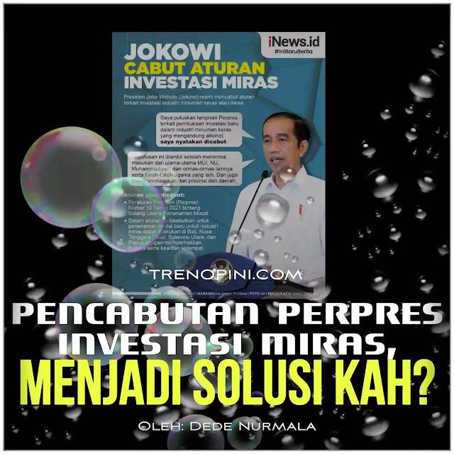 Presiden Joko Widodo (Jokowi) mencabut Peraturan Presiden (Perpres) Nomor 10 Tahun 2021 tentang Bidang Usaha Penanaman Modal. Dalam beleid tersebut, poin yang menjadi sorotan sejumlah pihak adalah soal investasi miras.