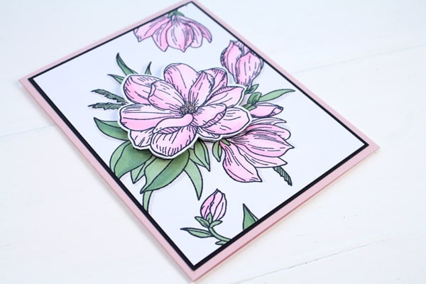 handmade floral card with foam tape flower