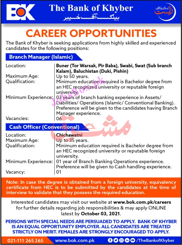 www.bok.com.pk/careers - BOK Bank of Khyber Jobs 2021 in Pakistan