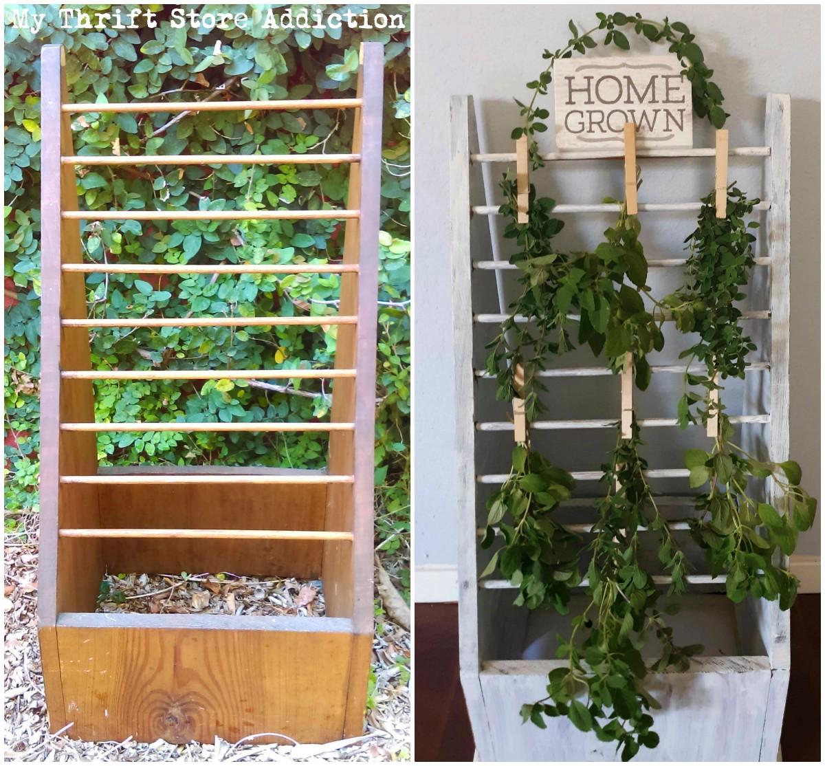 repurposed herb drying rack