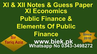 XI Economics Public Finance & Elements Of Public Finance