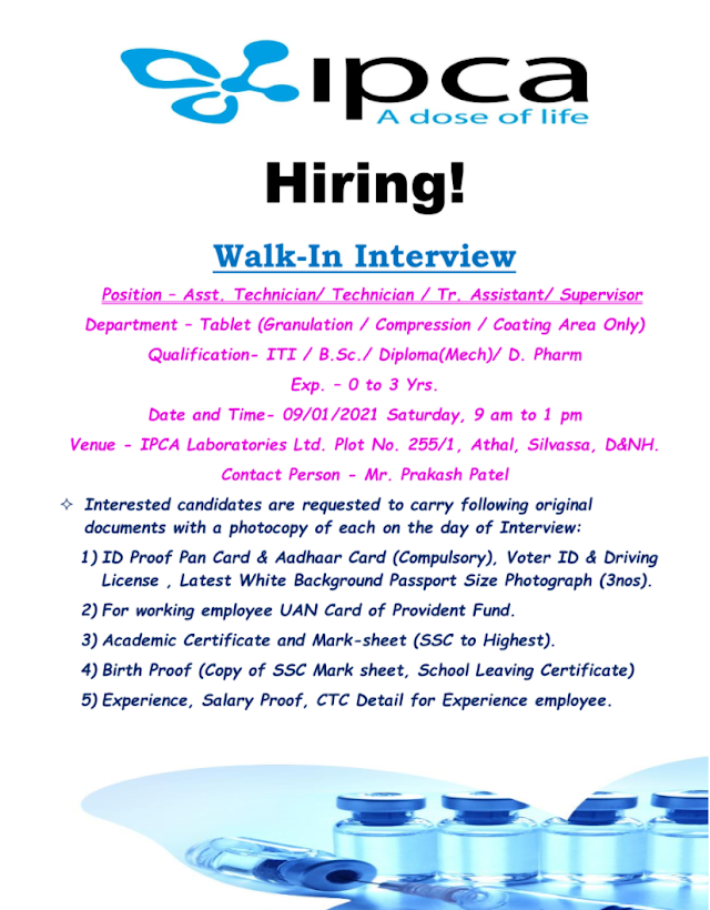 Ipca Labs | Walk-In Interviews for Freshers & Experienced in Production on 9th Jan 2021