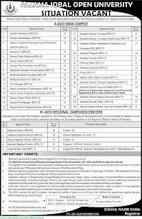 Allama Iqbal Open University Jobs November 2020 Various Jobs in Allama Iqbal Open University Jobs Apply Online November 2020