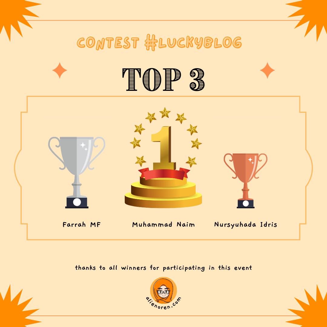 Pemenang Contest #luckyblog top 3