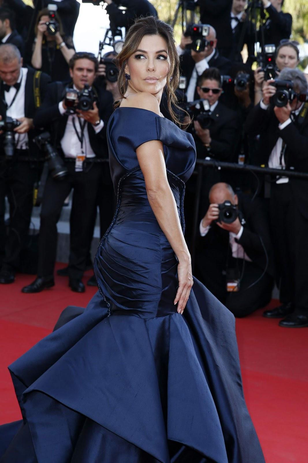 Full HD Photos of Eva Longoria in Blue Dress Carol Premiere 2015 Cannes Film Festival