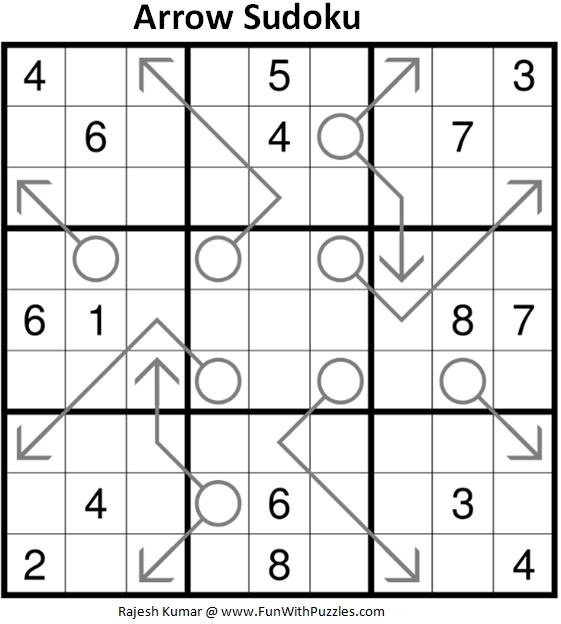 Arrow Sudoku Puzzle (Fun With Sudoku #294)