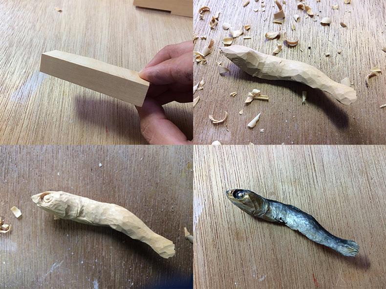 Alimentos realistas tallado en madera por Seiji Kawasaki