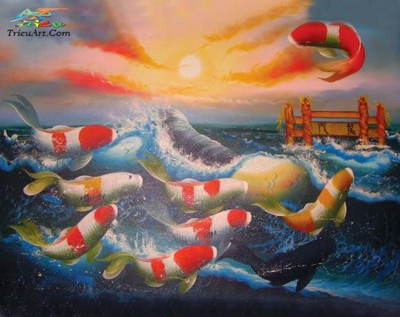 tranh cá chép sơn dầu