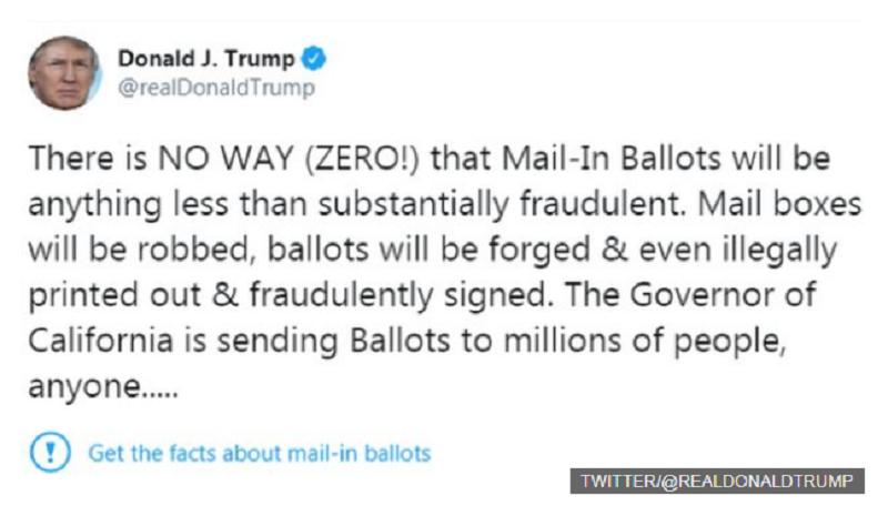 Tuit del Presidente Trump que fue etiquetado por la red social como