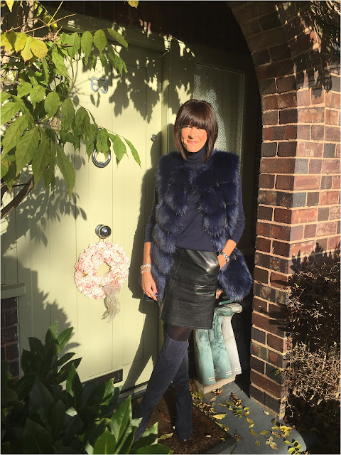 My Midlife Fashion, Boden Polo Neck, Zara faux leather a line skirt, faux fur gilet, clarks caddy belle over the knee boots