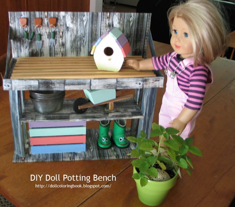 DIY American Girl Doll Potting Bench   The Doll Coloring Book