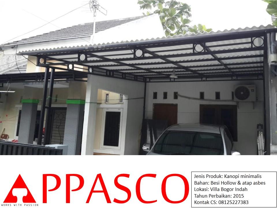 Kanopi Minimalis Atap Asbes di Villa Bogor Indah