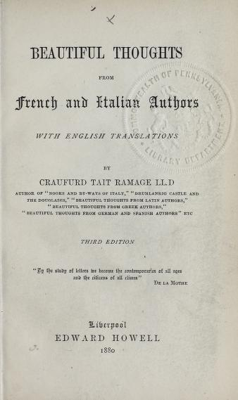 Beautiful thoughts from French and Italian authors