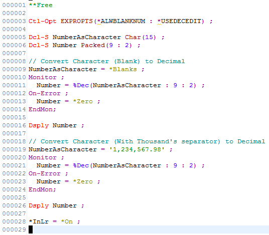 Character to Numeric conversion in RPGLE - IBM i