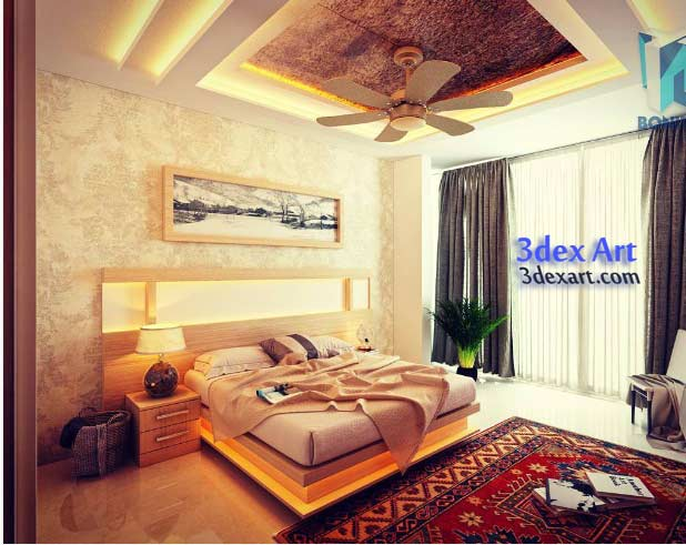 New false ceiling designs ideas for bedroom 2019 with LED lights