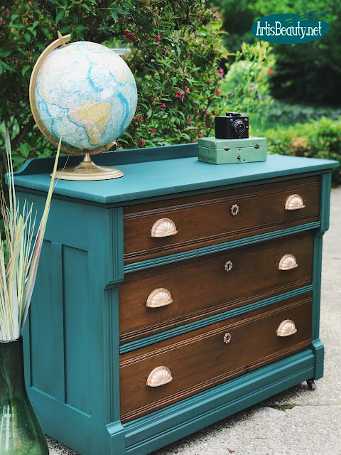 Antique Victorian Dresser Makeover using General Finishes Milk Paint in Westminster Green