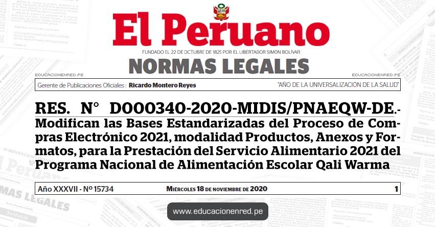 RES. N° D000340-2020-MIDIS/PNAEQW-DE.- Modifican las Bases Estandarizadas del Proceso de Compras Electrónico 2021, modalidad Productos, Anexos y Formatos, para la Prestación del Servicio Alimentario 2021 del Programa Nacional de Alimentación Escolar Qali Warma
