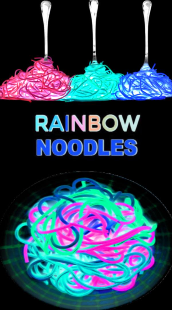 Make glowing spaghetti noodles for kids with this easy recipe for play! #rainbowspaghetti #rainbowdyednoodles #glowingnoodles #howtodyepasta #sensoryactivities #backlightactivitiesforkids #growingajeweledrose