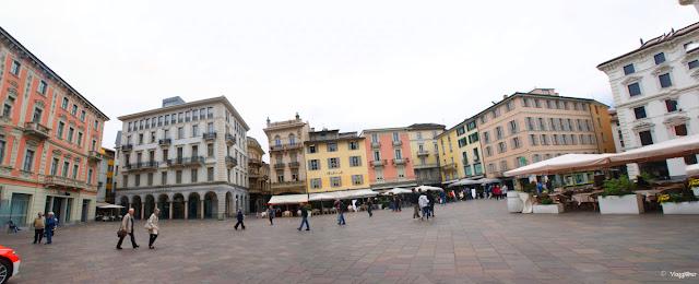 Vista panoramica su una delle piazze di Lugano