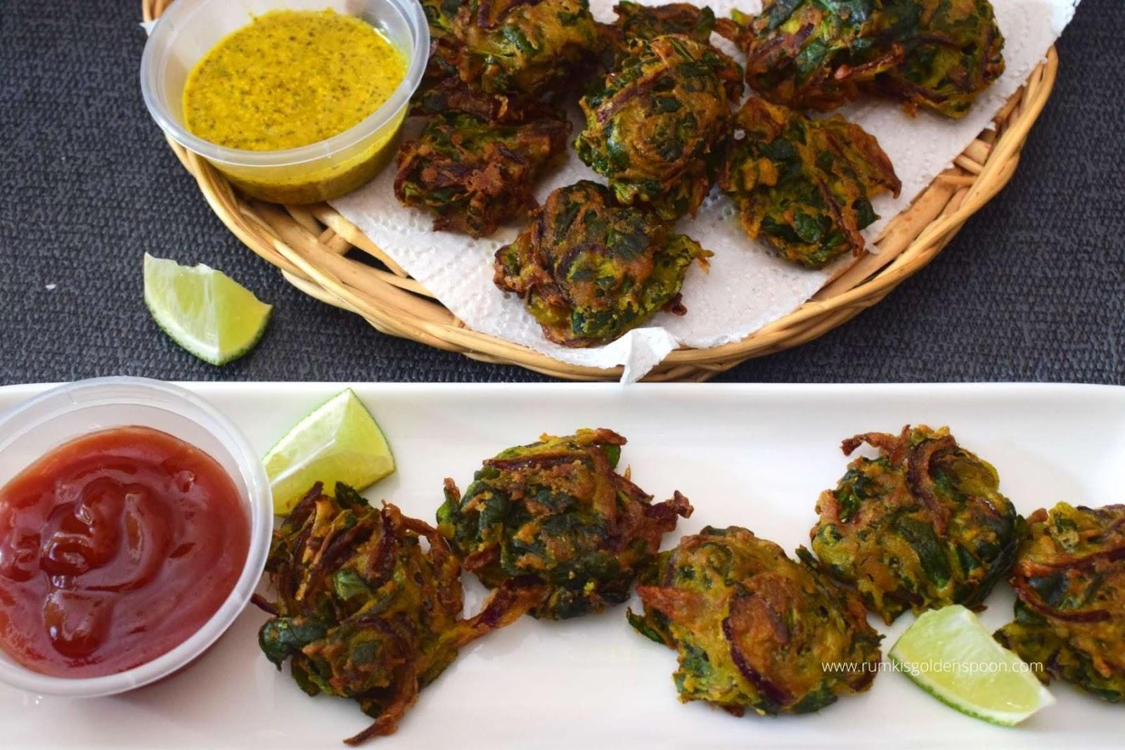 palak pakoda, palak pakoda recipe, recipe for palak pakoda, palak pakoda ki recipe, palak pakora, how to make palak pakoda, palak pakora recipe, recipe of palak pakora, spinach pakora, spinach pakora recipe, spinach pakora recipe Indian, spinach fritters, how to make spinach pakora, spinach pakoda, palak bhaji recipe, palak bhajia, palak recipe, palak recipes, palak recipe Indian, Indian recipe with spinach, spinach recipe Indian, snacks recipe, snack recipe, Indian snack recipe, recipe for vegan snacks, recipe for pakoda, pakoda recipe, vegan snacks recipe, indian recipe for snacks, Indian snacks recipe, Rumki's Golden Spoon