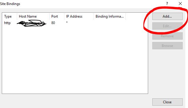 Click Add binding IIS