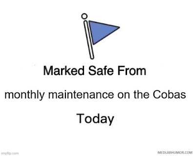 Marked Safe From Monthly Maintenance on the Cobas