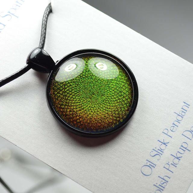 green shimmer nail polish pendant