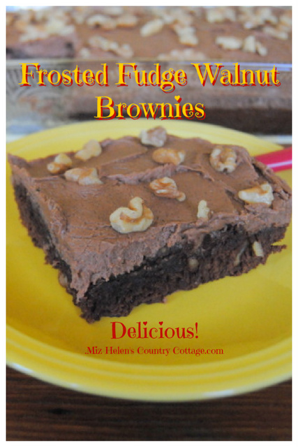 Frosted Fudge Walnut Brownies