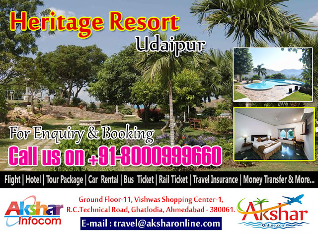 Heritage Resort- udaipur, Heritage resort booking, udaipur railway ticket booking, udaipur bus ticket, udaipur volvo ticket, udaipur sleeper bus, resort in udaipur, hotel in udaipur, Udaipur hotels in india, udaipur resort, heritage resort reservation in ahmedabad, heritage resort udaipur booking office, heritage resort udaipur booking, heritage resort hotel in udaipur, udaipur resort heritage, meal in heritage resort udaipur, swimming pool in udaipur, heritage resort booking office in ahmedabad, reservation of udaipur resort, heritage resort wedding function, heritage resort reservation system, heritage resort udaipur booking, travel agent in ahmedabad, travel agent in sola, tour operator in sola, tour operator in ghatlodia, tour organizer, heritage resort udaipur booking office in ahmedabad