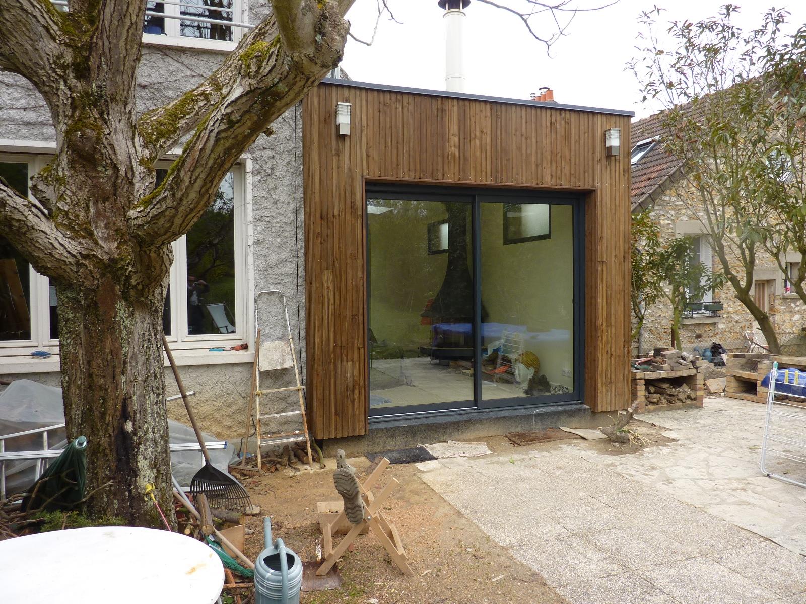 extension bois moderne maison ancienne pictures. Black Bedroom Furniture Sets. Home Design Ideas