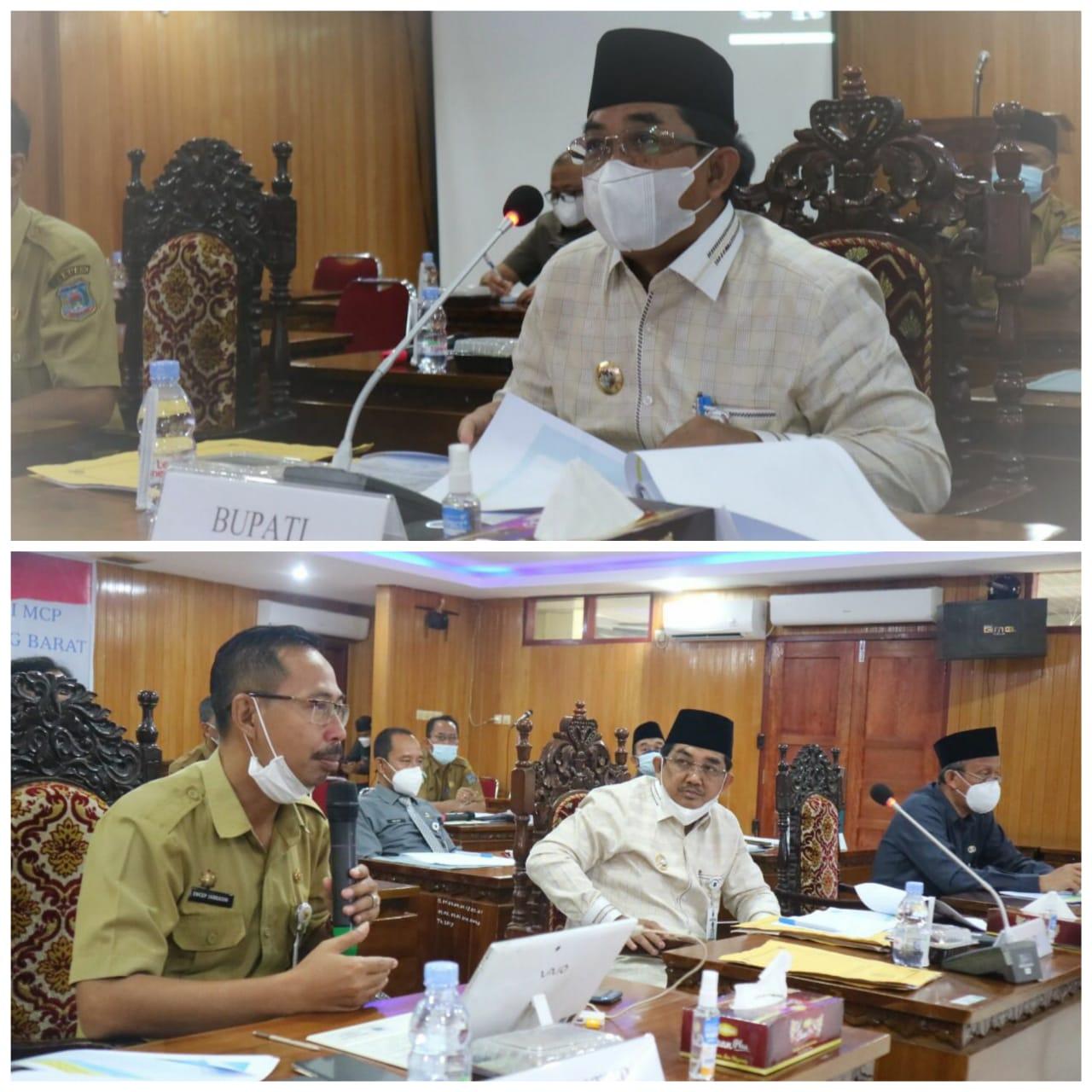 Bupati Tanjab Barat Buka Rapat Video Confrence Monitoring dan Evaluasi Progres MCP