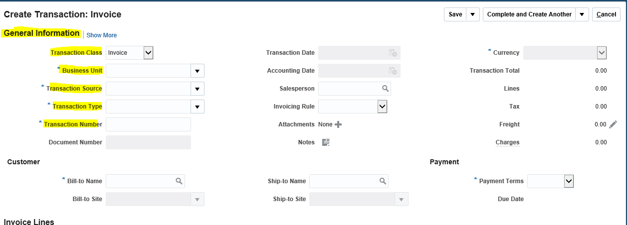 Fusion Receivables : How to create AR Transaction in Fusion