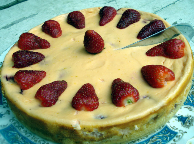 strawberry cheesecake on a platter
