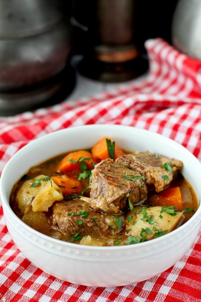 Guinness Beef Stew with thyme, garlic, carrots, and potatoes