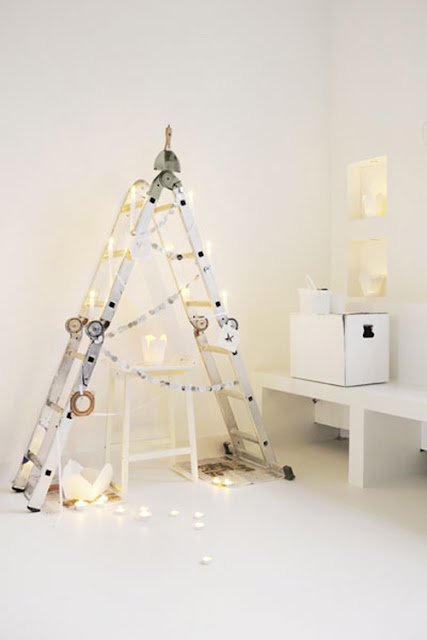 DIY Christmas tree made of stairs