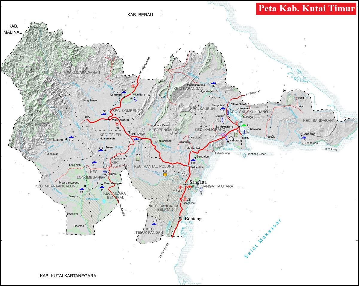 Peta Kabupaten Kutai Timur HD Lengkap