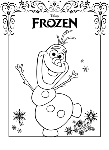 Click to see printable version of Olaf Frozen Coloring page