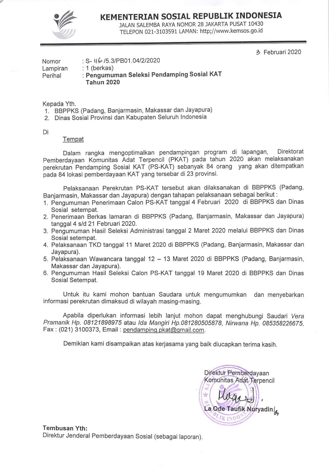 Rekrutmen Non PNS Pendamping Sosial KAT Kementerian Sosial Republik Indonesia Bulan Februari 2020