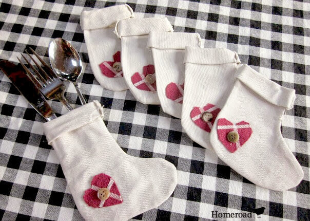 DIY Muslin flatware stockings for Christmas
