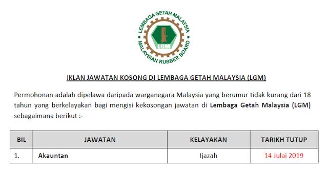 jawatan kosong lembaga getah malaysia