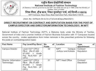 Apply For Campus Director and Director IT Posts in NIFT