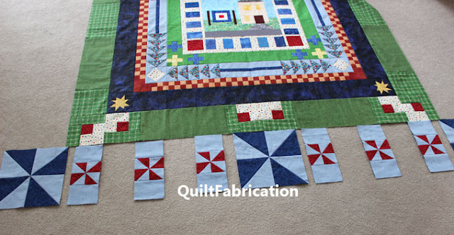 red and blue pinwheels on a quilt border