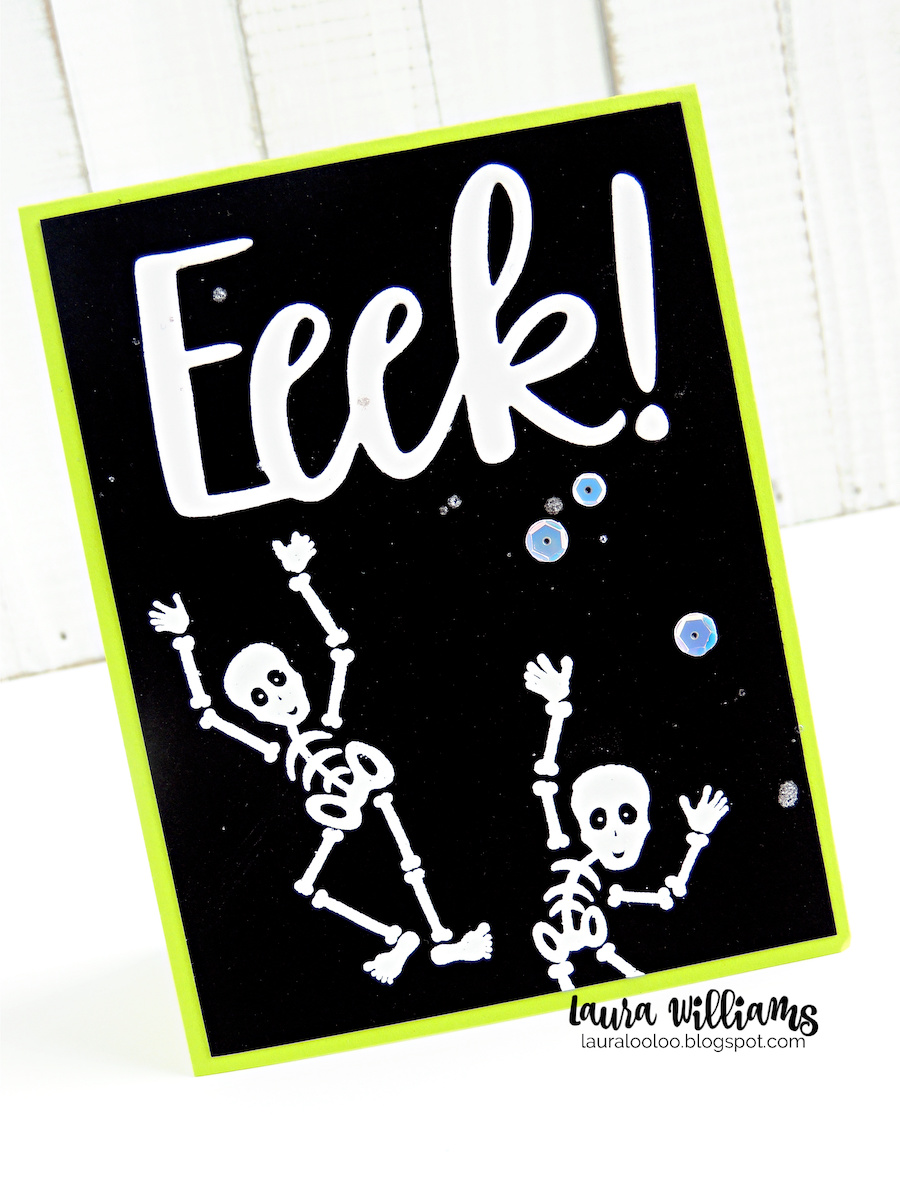 """This photos is of a handmade Halloween card made with stamping and die-cutting. The base is black cardstock with a thin lime green matting. There are two skeletons stamped and embossed in white. There is a large die-cut sentiment that says """"Eeek!"""" and the card is finished off with a scattering of white iridescent sequins. All of the stamps and dies are from Impression Obsession."""