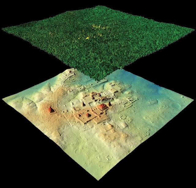 Como o satélite 've' vestigios arqueológicos através da vegetação. Na foto cidade perdida na América Central