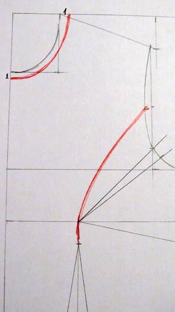 Dibujo corte princesa y pinza correctiva de sisa trazada sobre el patrón