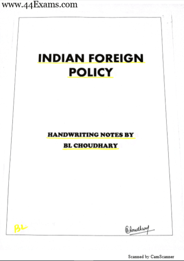 Indian-Foreign-Policy-Handwritten-Notes-by-BL-Choudhary-For-UPSC-Exam-Hindi-PDF-Book