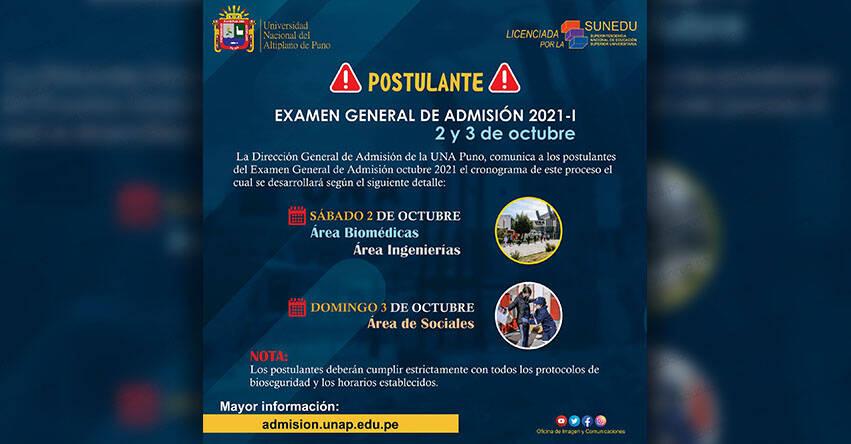 UNA PUNO: Examen de admisión a la Universidad Nacional del Altiplano se realizará en el Estadio Universitario el 2 y 3 de Octubre